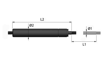 Dibujo técnico - Resortes de gas de tracción