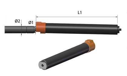 Esquema técnico - Tubos de bloqueo para resorte de gas - Acero negro