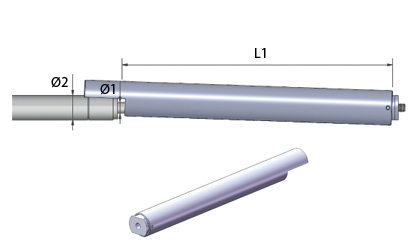 Esquema técnico - Tubos de bloqueo para resorte de gas - Acero inoxidable