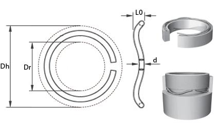 Dibujo técnico - Muelles ondulados de alambre redondo - Acero al carbono