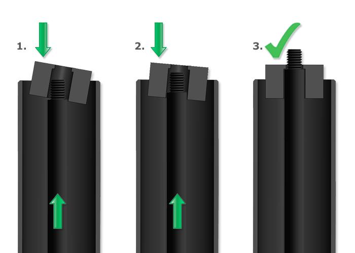Acoplamiento y uso - Tubos de bloqueo para resorte de gas